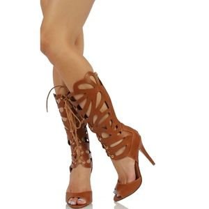 Shoes - Tan Faux Leather Gladiator Knee High Heel Leann